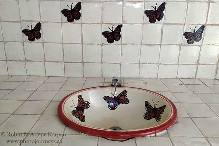 Even the washroom sinks and bathrooms at El Rosario have a butterfly theme., Monarch Butterfly Reserve, Mexico