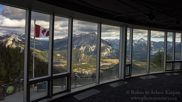 Inside upper terminal, Banff Gondola, Banff.