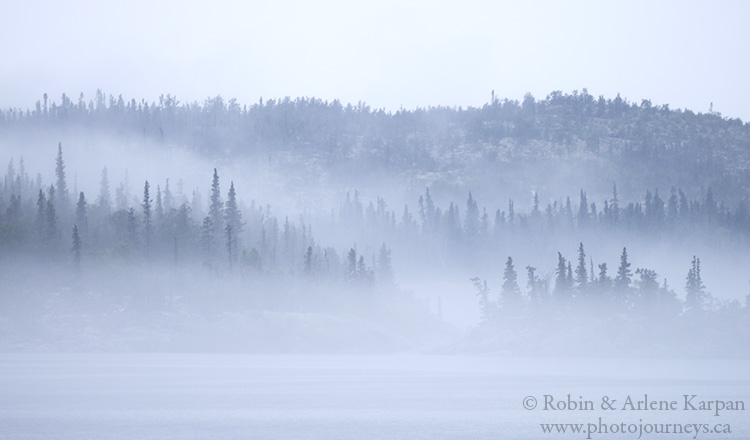 Islands in the fog, Lake Athabasca, Saskatchewan