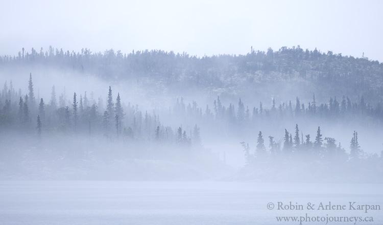 Islands in the fog, Lake Athabasca, Saskatchewan