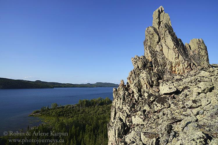 Pinnacle Rock, Lodge Bay, Lake Athabasca north shore, Saskatchewan