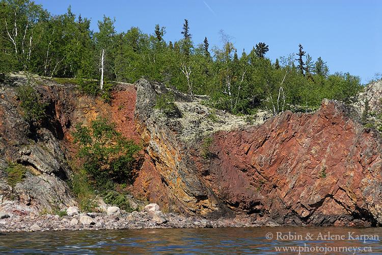 Colorful rocks, Johnston Island, north shore Lake Athabasca, Saskatchewan