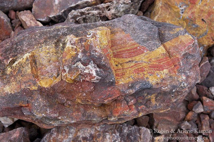 Colourful rocks, north shore, Lake Athabasca, Saskatchewan