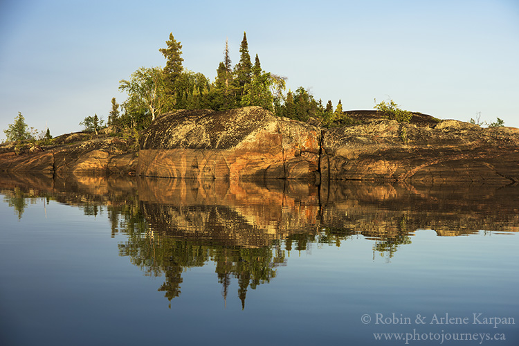 Island reflection, Oldman River, Lake Athabasca, Saskatchewan