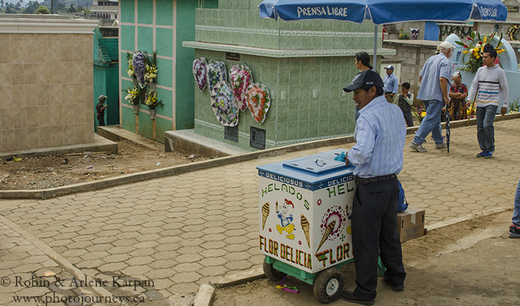 icecream salesman in the cemetery, Sumpongo, Guatemala