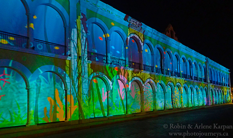 Sound and light show, centre square, Campeche