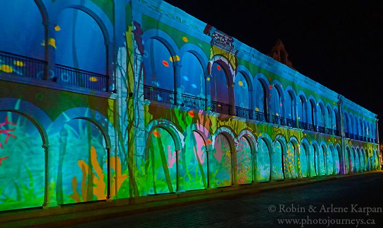 Sound and light show, centre square, Campeche
