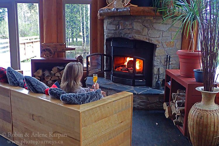 Enjoying the fire at Auberge du Lac Taureau.